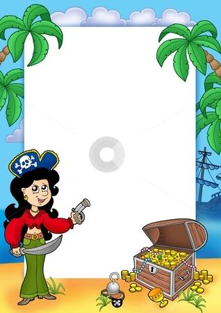 Frame with pirate girl and treasure 1 stock photo, Frame with pirate girl and treasure 1 - color illustration. by Klara Viskova