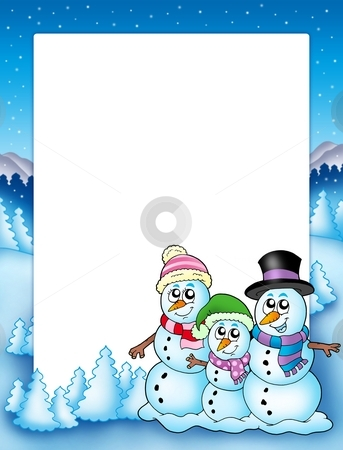 Winter frame with snowman family stock photo, Winter frame with snowman family - color illustration. by Klara Viskova