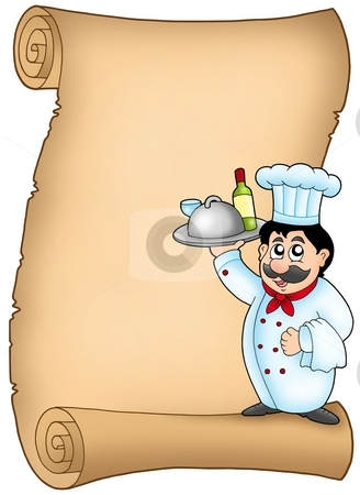 Scroll with chef 1 stock photo, Scroll with chef 1 - color illustration. by Klara Viskova