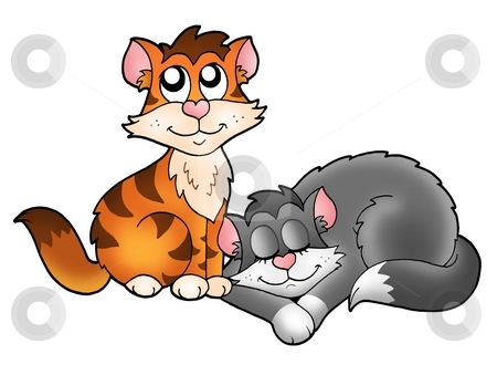 Two cute cats stock photo, Two cute cats - color illustration. by Klara Viskova