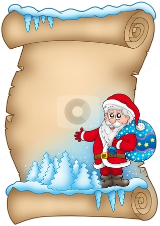 Winter parchment with Santa Claus 4 stock photo, Winter parchment with Santa Claus 4 - color illustration. by Klara Viskova