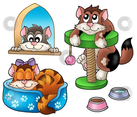 Cute cats collection stock photo, Cute cats collection - color illustration. by Klara Viskova