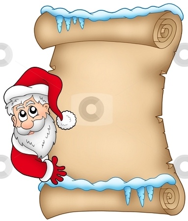 Winter parchment with Santa Claus 1 stock photo, Winter parchment with Santa Claus 1 - color illustration. by Klara Viskova