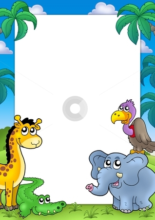 African frame with animals 1 stock photo, African frame with animals 1 - color illustration. by Klara Viskova