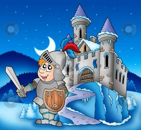 Castle and knight in winter landscape stock photo, Castle and knight in winter landscape - color illustration. by Klara Viskova