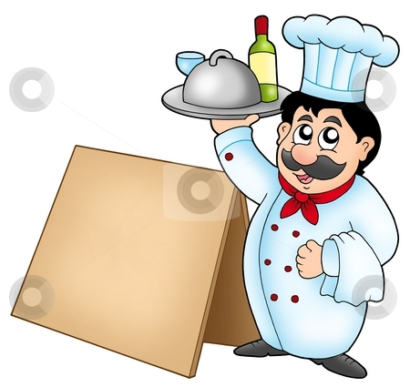 Chef holding meal with wooden table stock photo, Chef holding meal with wooden table - color illustration. by Klara Viskova