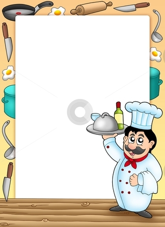 Frame with chef holding meal stock photo, Frame with chef holding meal - color illustration. by Klara Viskova