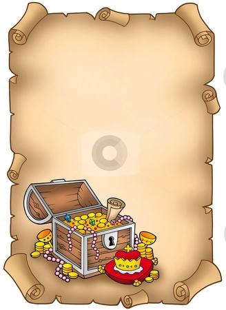 Parchment with big treasure chest stock photo, Parchment with big treasure chest - color illustration. by Klara Viskova