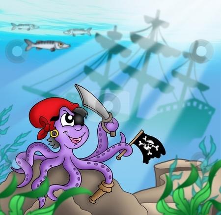 Pirate octopus near ship underwater stock photo, Pirate octopus near ship underwater - color illustration. by Klara Viskova