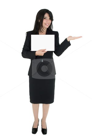 Woman marketing a product stock photo, Standing woman in suit holds a sign and hand extended for product. by Leah-Anne Thompson