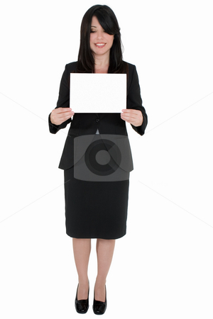 Woman with blank sign stock photo, Standing woman holding a blank sign by Leah-Anne Thompson