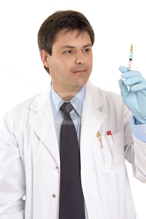 Medical practitioner with syringe needle stock photo, Doctor with a syringe of medicine, insulin or vaccine or other pharmaceutical by Leah-Anne Thompson