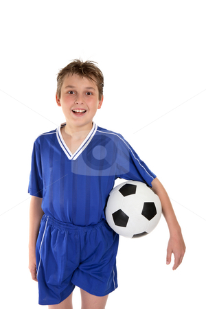 Boy in soccer uniform stock photo, A boy wearing his soccer uniform and holding a soccer ball by Leah-Anne Thompson