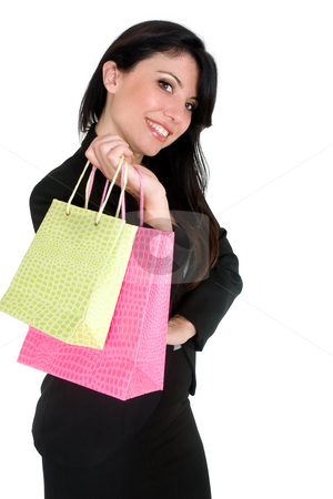 Shopping Girl stock photo, Female holding green and pink shopping bags. by Leah-Anne Thompson