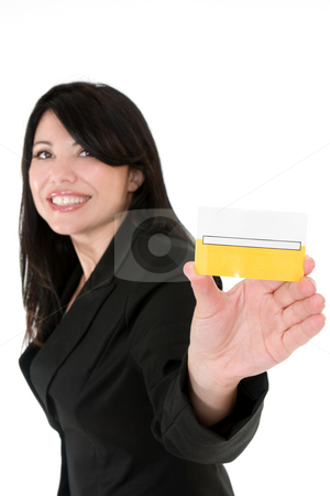 Join the club stock photo, Beautiful smiling woman holding a membership card, bank or credit card, business card etc. by Leah-Anne Thompson