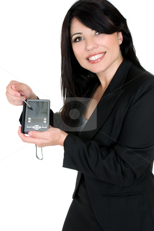 Woman demonstrating product stock photo, Woman using or demonstrating an electronic product. by Leah-Anne Thompson
