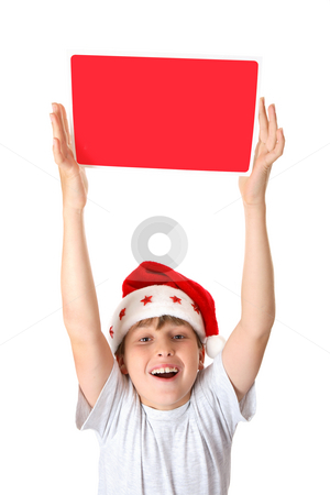 Child with Christmas Message stock photo, An exuberant boy holding up a Christmas Message or Sign by Leah-Anne Thompson