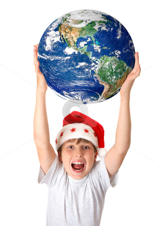 Celebrating Christmas around the planet worldwide stock photo, A joyous boy holding our beautiful planet earth above his head.  concept. by Leah-Anne Thompson