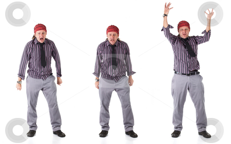 Man with Dreadlocks stock photo, Adult caucasian man with dreadlocks and casual wear on a white background in various stages of extreme anger. Not Isolated by Sean Nel