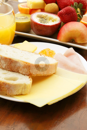 Breakfast stock photo, Breakfast Meal with Bread Ham and Cheese by Kheng Ho Toh