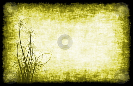 Yellow Grunge Background Floral stock photo, A Grunge Parchment Floral as Abstract Background by Kheng Ho Toh
