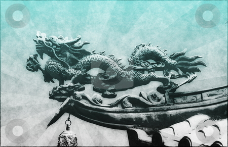 Chinese Dragon stock photo, Chinese Dragon Painting Grunge as a Background by Kheng Ho Toh