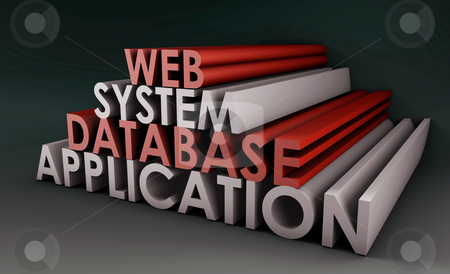 Web Application System stock photo, Web Application Database System in 3d Background by Kheng Ho Toh