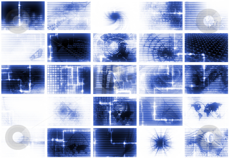 Blue Futuristic Media Abstract Background stock photo, Blue Futuristic Digital TV and Channels Background by Kheng Ho Toh