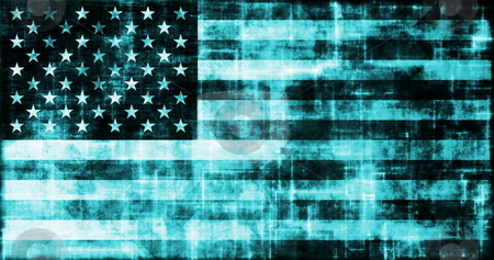 Grunge Digital USA Flag stock photo, Grunge Digital USA Flag Technology as Abstract by Kheng Ho Toh