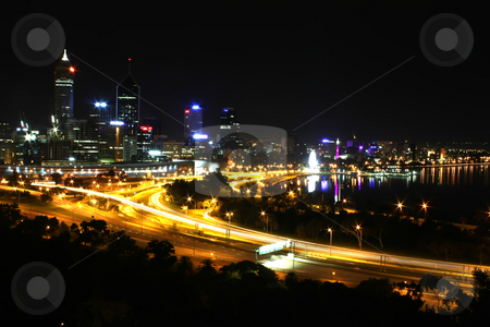 Perth Skyline stock photo, Perth City Skyline at Night Western Australia by Kheng Ho Toh
