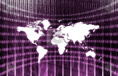 World Communications stock photo, World Communications in Purple with Map Abstract by Kheng Ho Toh