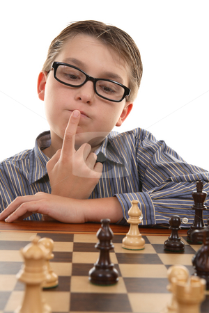 Chess - evaluating positions stock photo, An important element of a good chess player is  how well he evaluates positions and ability to think ahead. by Leah-Anne Thompson