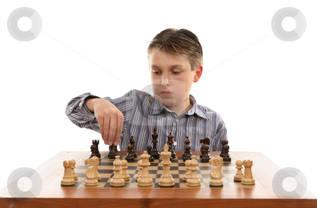 Chess setup stock photo, A young player setting up a chess table by Leah-Anne Thompson