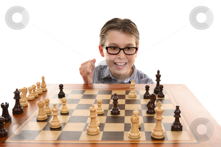Checkmate. stock photo, Checkmate.  Blacks bishop takes out white knight at h2.  White king is castled and rook at f1 blocking escape.   Success by Leah-Anne Thompson
