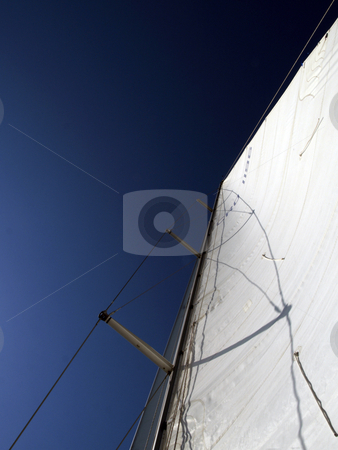Sail stock photo, White sail dark blue sky by shufu