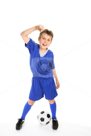 Soccer win stock photo, A boy thumps the air with a fist of success. by Leah-Anne Thompson