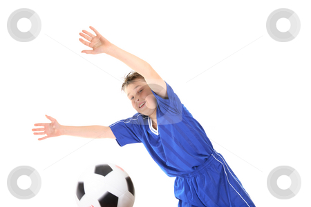 Soccer Goalkeeper stock photo, Goalkeeper stretches to make a save. by Leah-Anne Thompson
