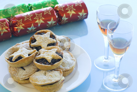 Mince pies and Sherry stock photo, A Christmas still life with mince pies, glasses of sherry and crackers by Stephen Gibson