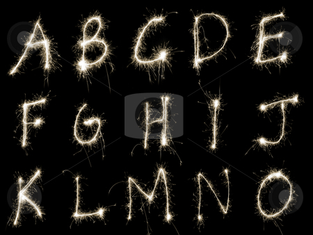 Sparking Alphabet AtoO stock photo, Capital letters A to O written in sparkler trails, other letters numbers and symbols available separately by Stephen Gibson