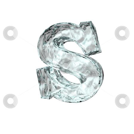 Frozen letter S stock photo, Frozen uppercase letter S on white background - 3d illustration by J?