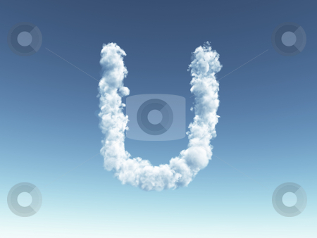 Cloudy letter U stock photo, Clouds forms the uppercase letter U in the sky - 3d illustration by J?