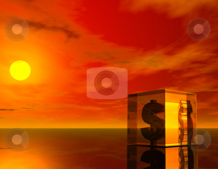Dollar stock photo, Glass cube with dollar symbol in the sunset - 3d illustration by J?