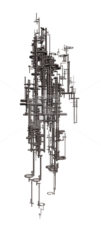 Futuristic stock photo, Abstract metal construction on white background - 3d illustration by J?