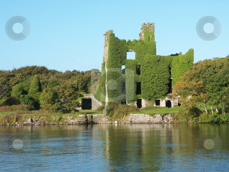 Menlo Castle stock photo, The ruins of Menlo Castle, Galway, Ireland, reflected in the River Corrib by Michael O'Connell