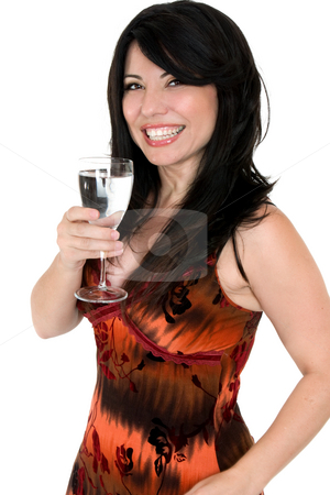 Celebrate good health stock photo, Vibrant smiling woman with a glass of fresh pure water by Leah-Anne Thompson