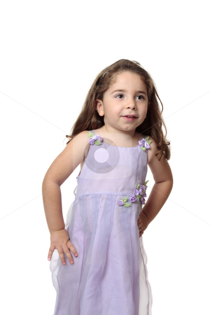 Beautiful little girl in pretty dress stock photo, Beautiful young girl dressed in a lilac mauve dress with decorative flower accents. by Leah-Anne Thompson