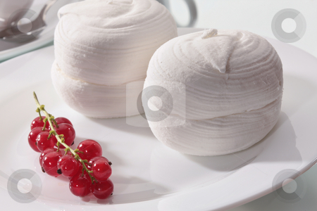 Sweet food stock photo, Food series: marsh mallow with red currant by Gennady Kravetsky
