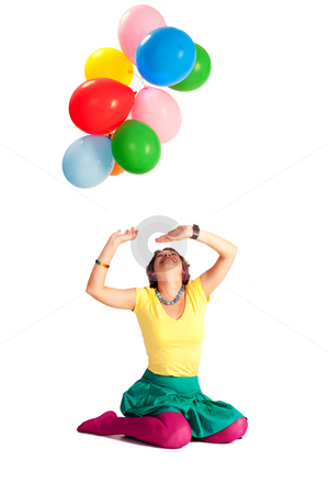 Holiday stock photo, People series: young girl play with balloons by Gennady Kravetsky