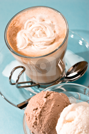 Coffee stock photo, Drink series: coffee with cream and ice cream by Gennady Kravetsky