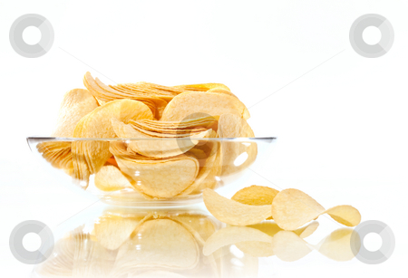 Chip stock photo, Food series: close up pic of potato chips by Gennady Kravetsky